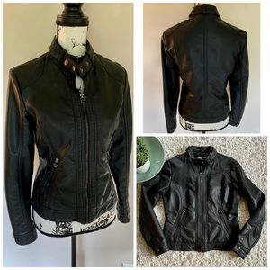 Jackets & Blazers - Faux Leather Moto Motorcycle Biker Jacket Zip Up